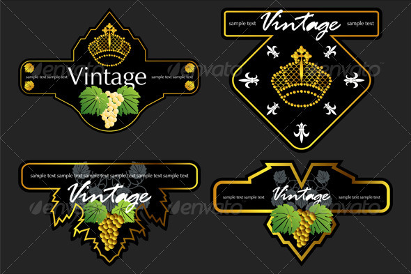 Wiine Labels Design Template Set - Decorative Vectors