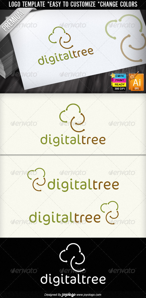 Digital Tree Community Logo Design  - Nature Logo Templates