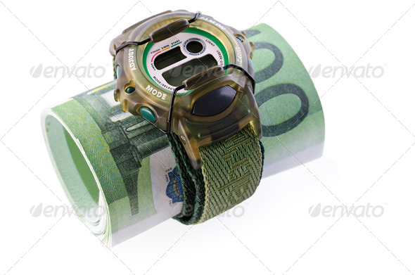 watches and banknotes - Stock Photo - Images