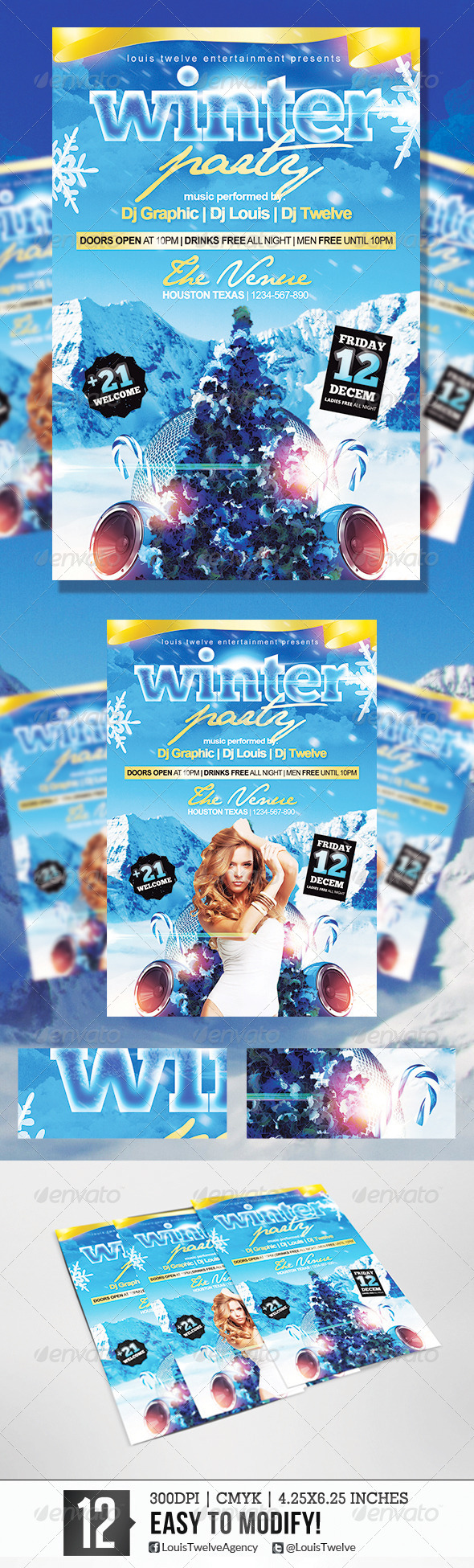 Winter Party 2 | Flyer Template - Flyers Print Templates