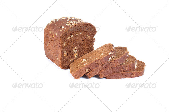 Rye bread on a white background. - Stock Photo - Images