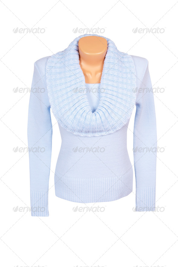 Stylish blue sweater on a white. - Stock Photo - Images