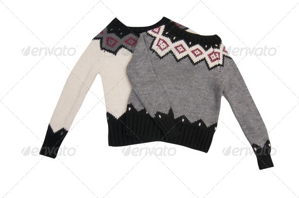 Wonderful  sweaters on a white. - Stock Photo - Images
