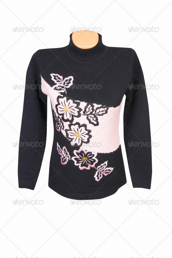 Fashionable warm sweater on a white. - Stock Photo - Images