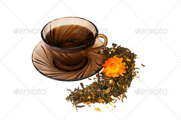 Cup of  fragrant tea on a white. - Stock Photo - Images