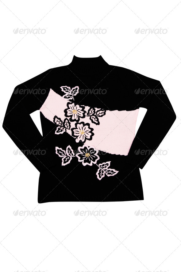 Elegant warm sweater on a white. - Stock Photo - Images
