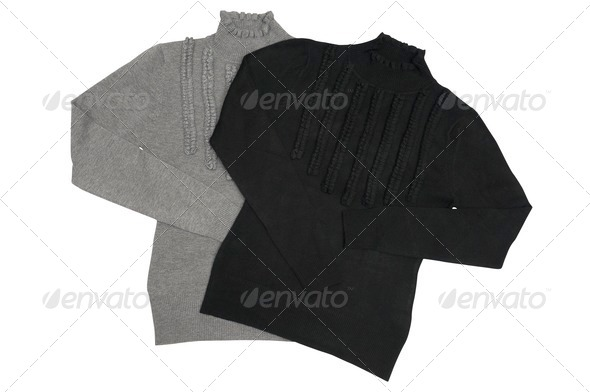 Fashionable sweaters on a white. - Stock Photo - Images