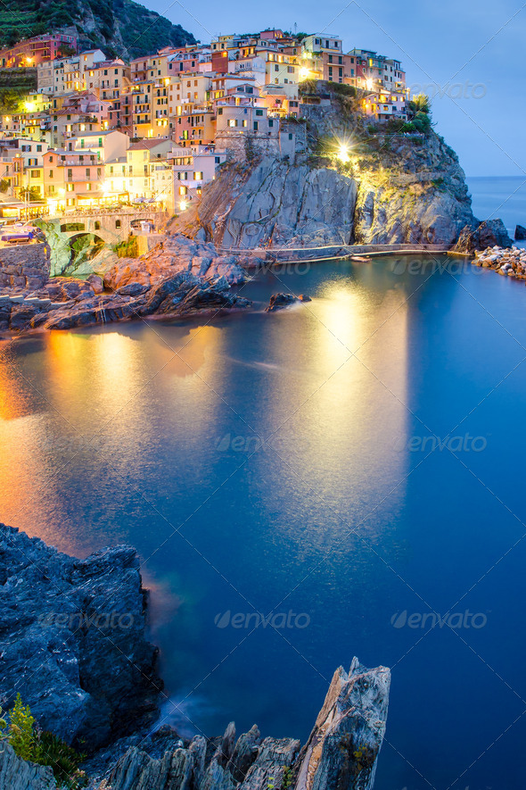 Night view of colorful village Manarola, Cinque Terre - Stock Photo - Images