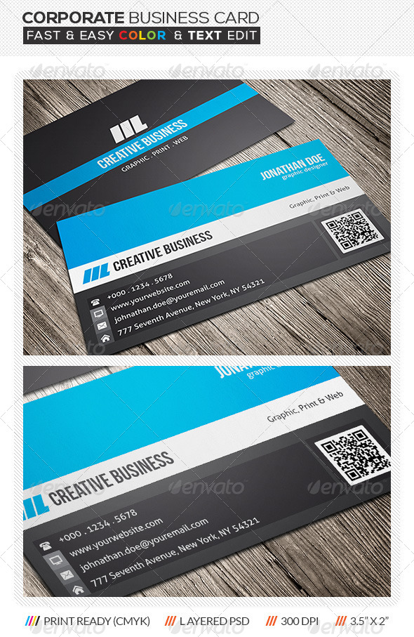 Corporate business card design by mengloong graphicriver corporate business card design corporate business cards colourmoves