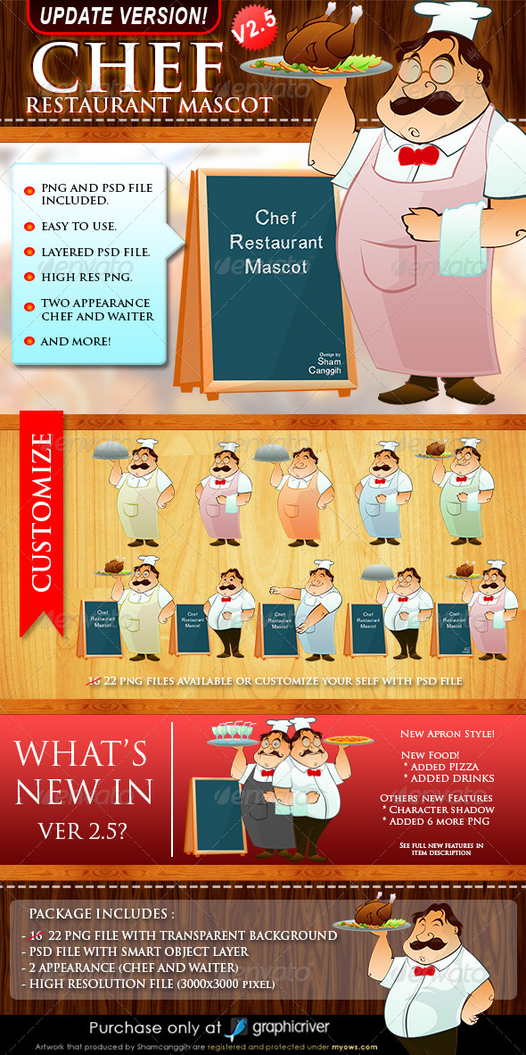Chef Restaurant Mascot Ver. 2.5 - Characters Illustrations