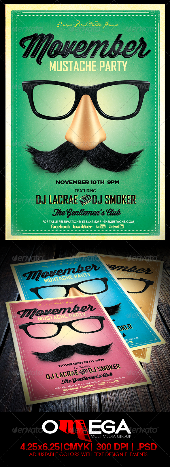Movemeber Mustache Party - Events Flyers