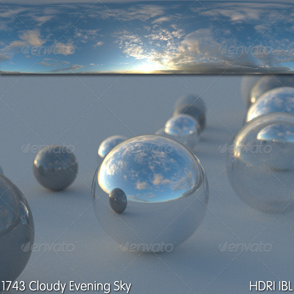 HDRI IBL 1743 Cloudy Evening Sky - 3DOcean Item for Sale