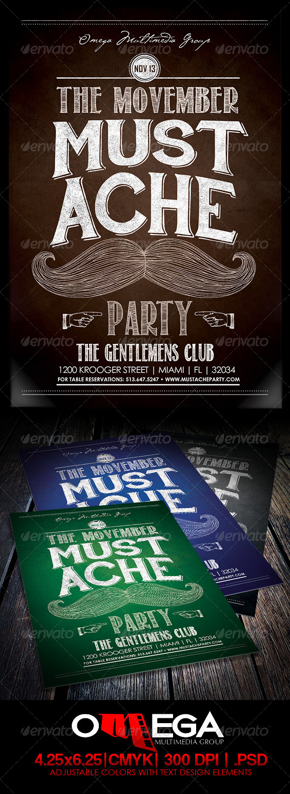 The Movember Mustache Party - Events Flyers