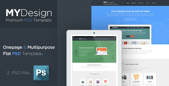 MYDesign - Onepage Multipurpose Flat PSD Template - Corporate PSD Templates