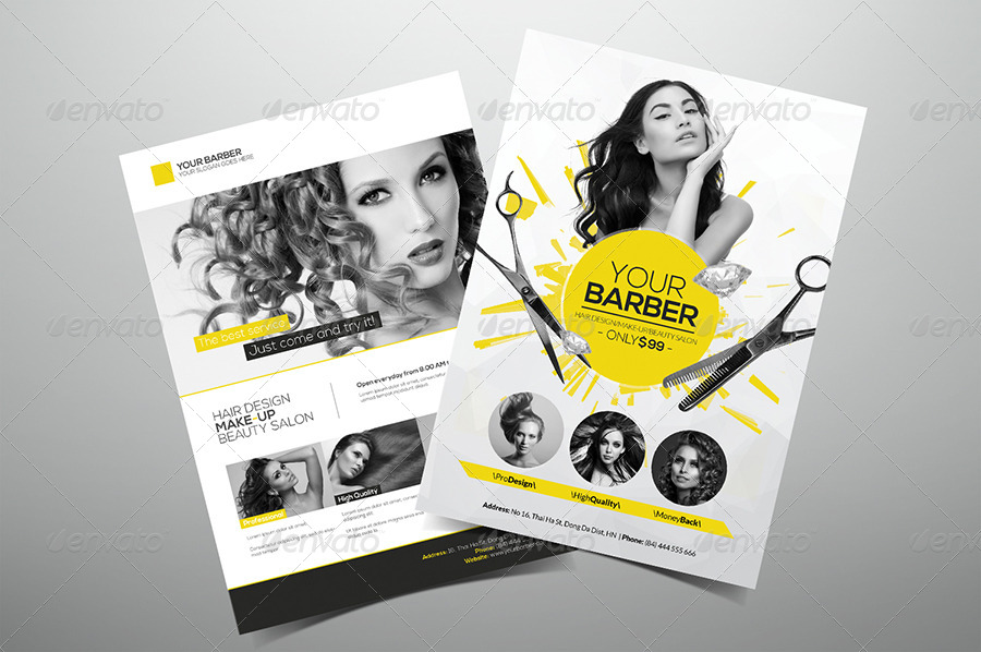 Premium Hair Salon Flyer by hoanggiang12 | GraphicRiver