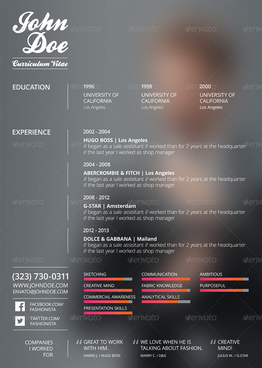 resume cv fashion design by superherobrandsquad graphicriver