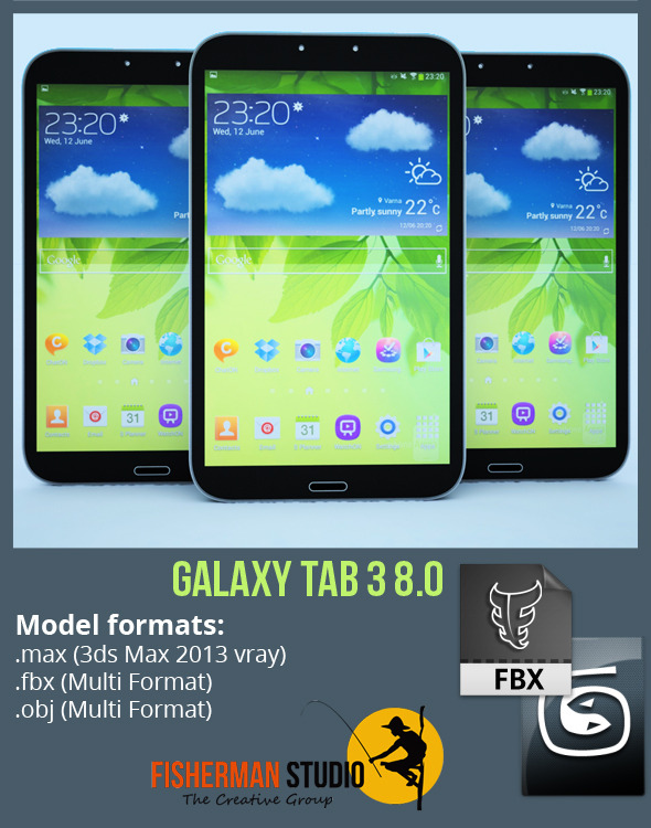 Samsung Galaxy Tab 3 8.0 with Render Setup - 3DOcean Item for Sale