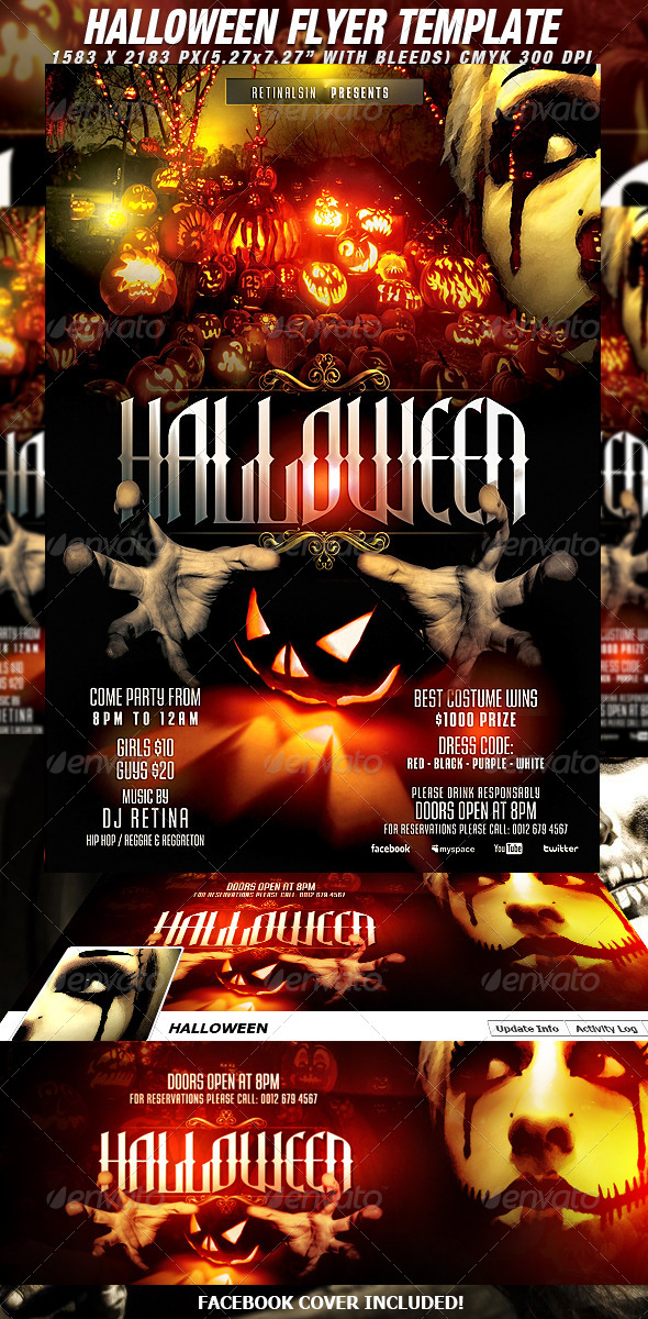 Halloween flyer template fb cover by mexelina graphicriver for Free halloween flyer templates