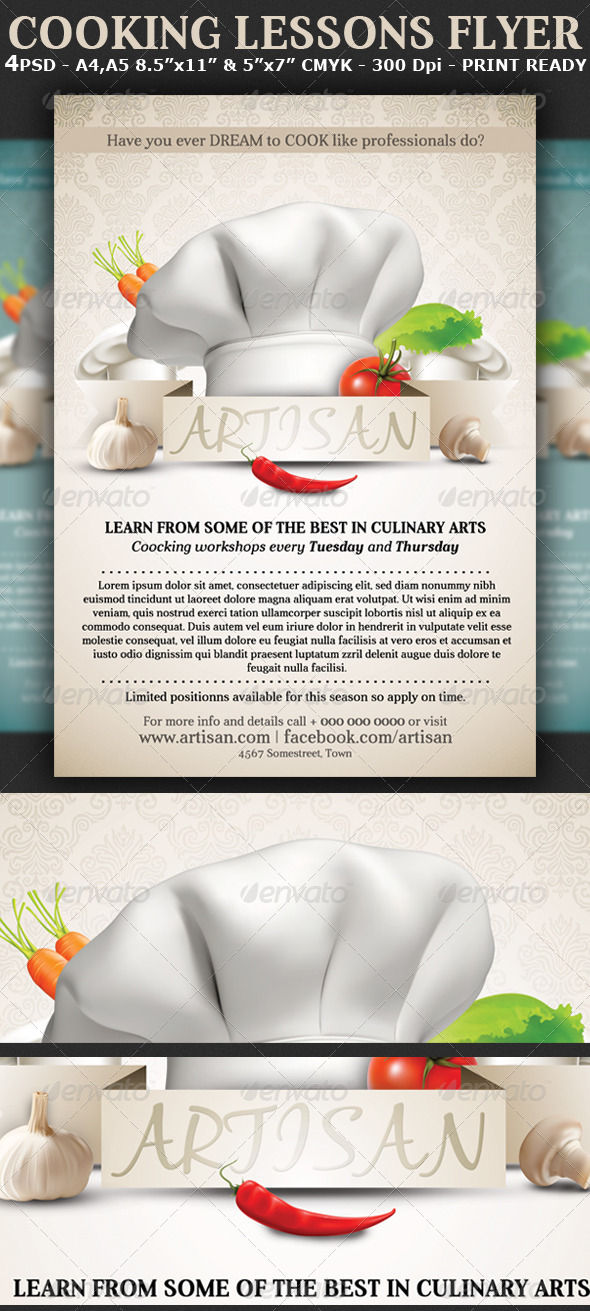 Cooking Lessons Flyer Template - Restaurant Flyers