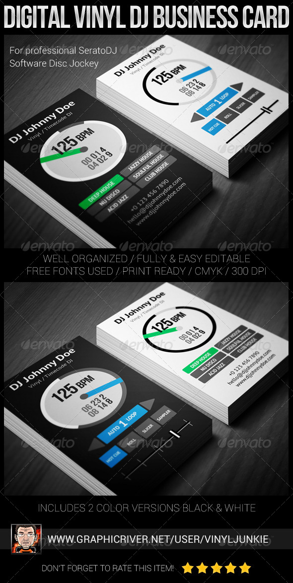 Digital Vinyl DJ Business Card - Industry Specific Business Cards