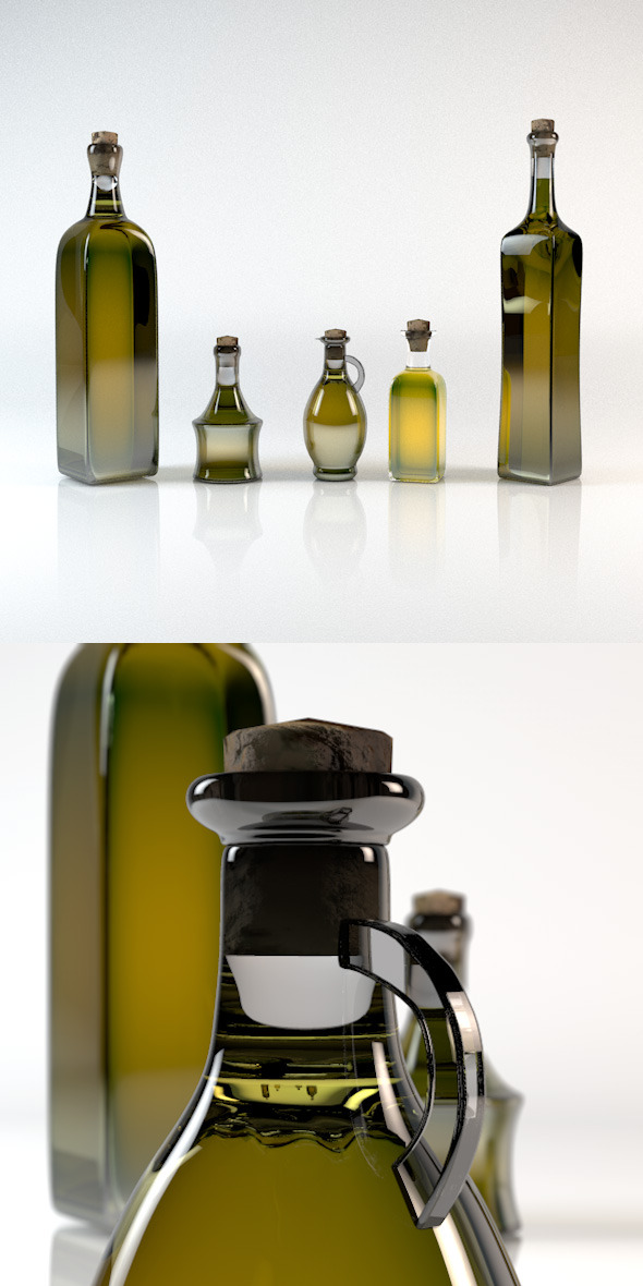 Olive Oil Bottle Pack 5in1 - 3DOcean Item for Sale