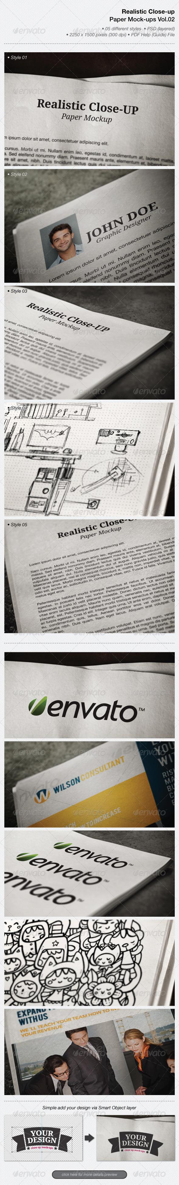 Realistic Close-up Paper Mock-ups Vol.02 - Miscellaneous Print