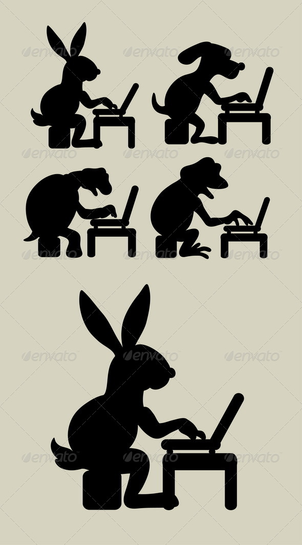 Animal with Laptop Silhouettes - Animals Characters