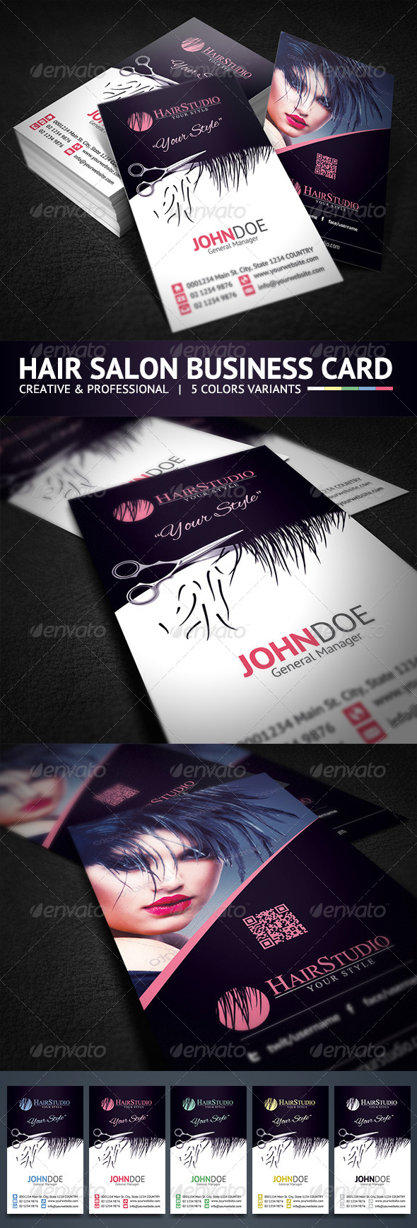 Creative Hair Salon Business Card by hsynkyc | GraphicRiver