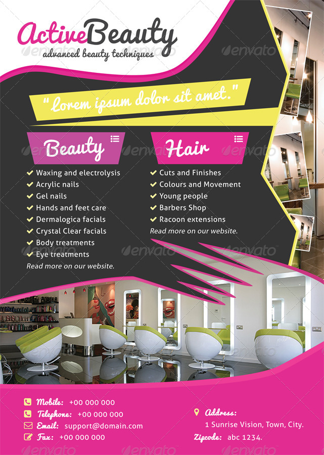 hair  u0026 beauty salon a4 psd flyer poster by groupp