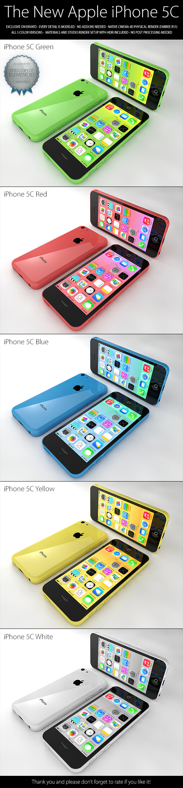 iPhone 5C - 3DOcean Item for Sale