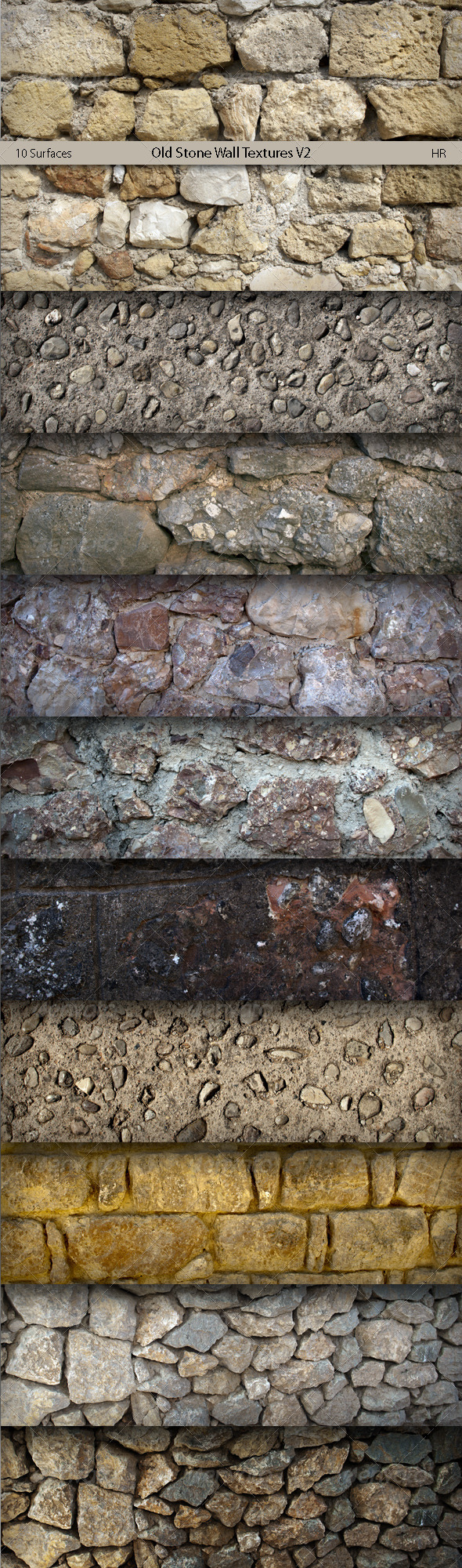 Old Stone Wall Surfaces Texture Backgrounds V2 By