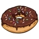 Vector Cartoon Donut with Chocolate Icing - GraphicRiver Item for Sale