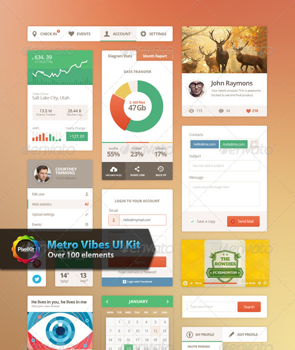 Metro Vibes UI Kit - User Interfaces Web Elements
