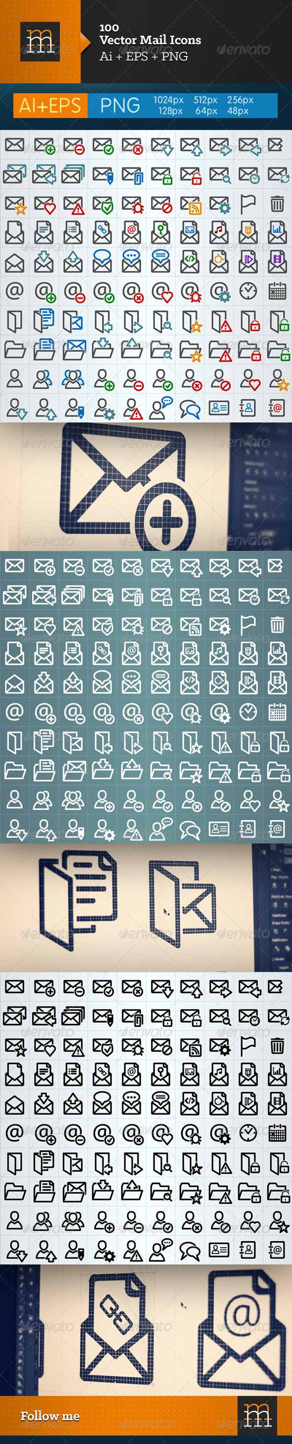 100 Vector Mail Icons  - Media Icons