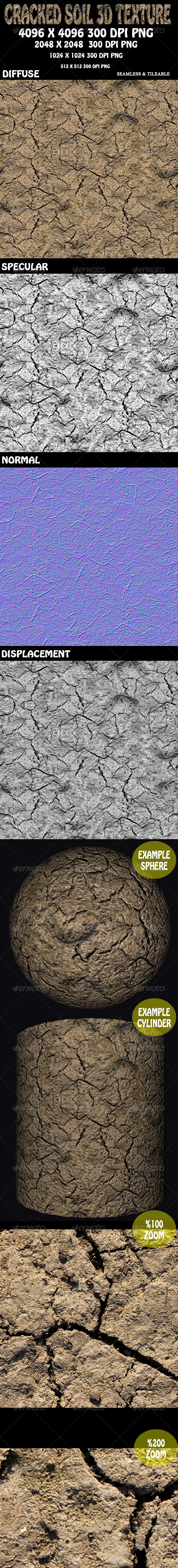 Cracked Soil 1 - 3D Texture - 3DOcean Item for Sale