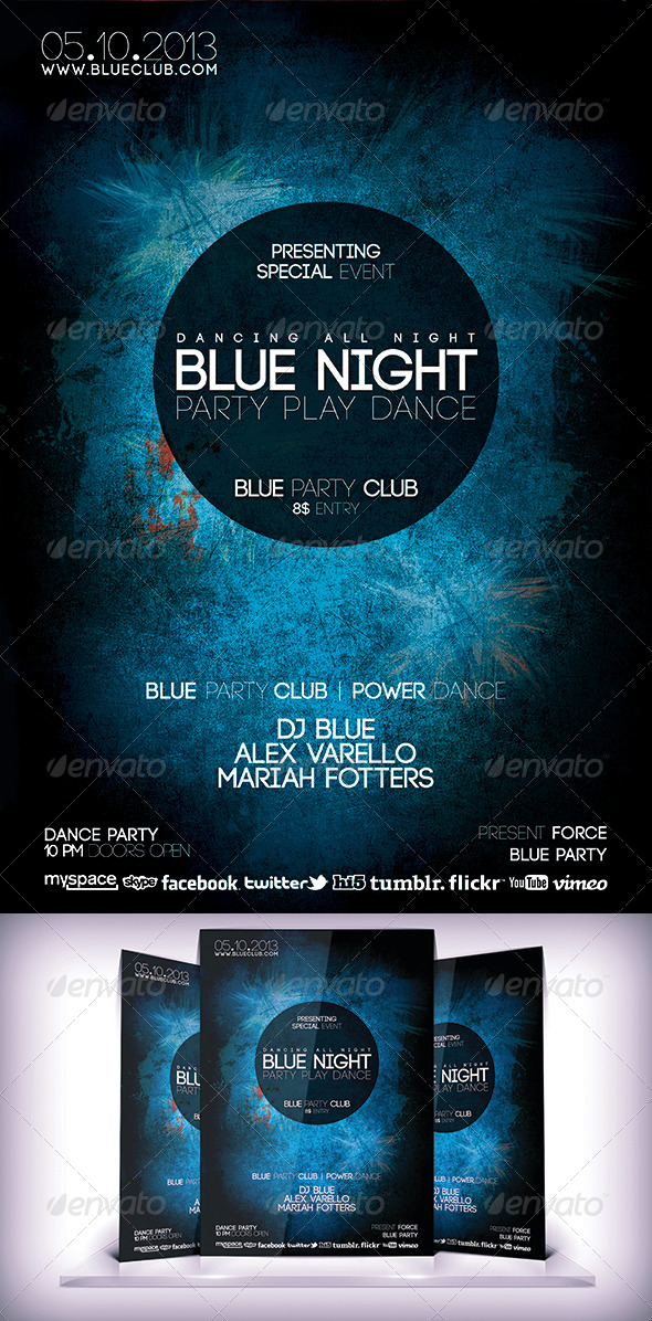 Blue Night Flyer - Clubs & Parties Events