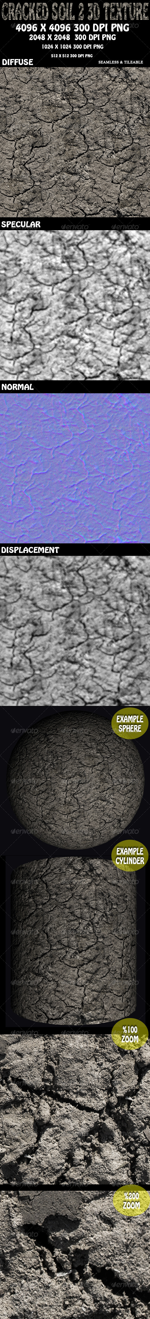 Cracked Soil 2 - 3D Texture - 3DOcean Item for Sale