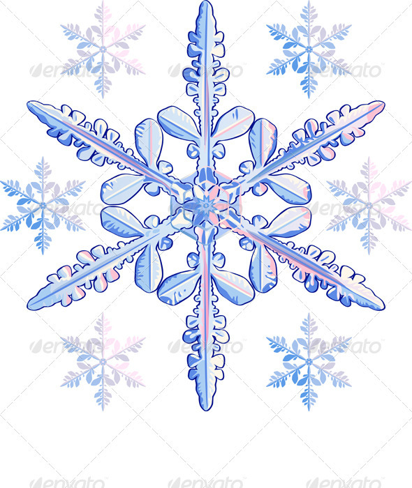 Vector transparent snowflake - Decorative Symbols Decorative