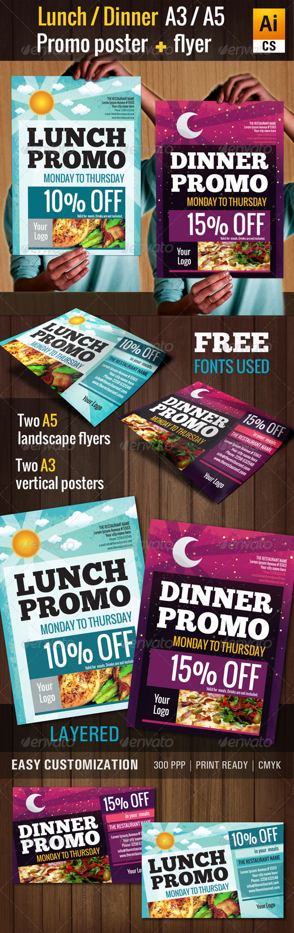 Lunch & Dinner Promo Poster/Flyer (A3, A5) - Restaurant Flyers
