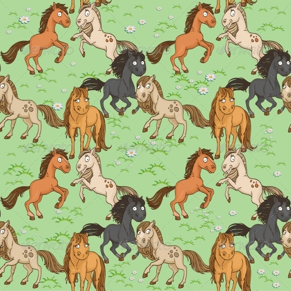 Seamless Pattern of Horse - Animals Characters