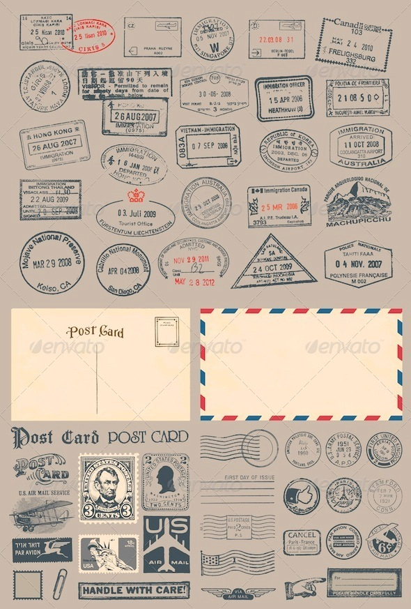 Postage and Passport Stamps - Travel Conceptual