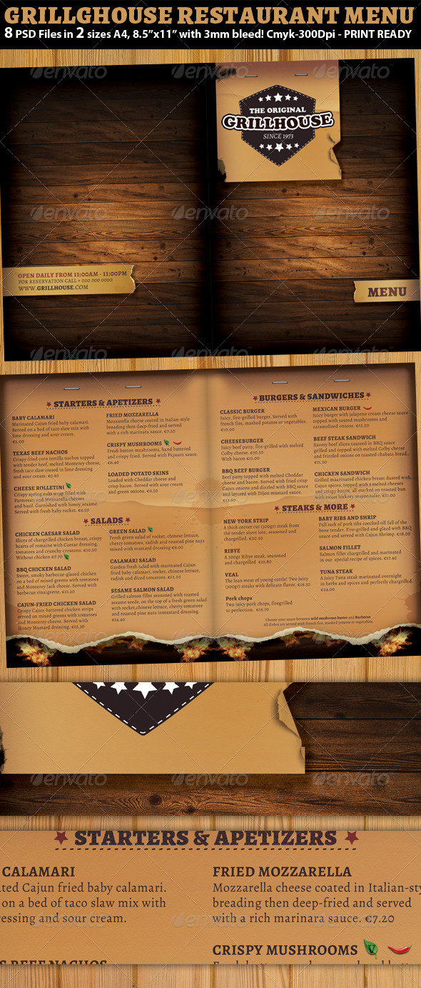 Grill restaurant menu template by hotpin graphicriver for Templates for restaurant menus