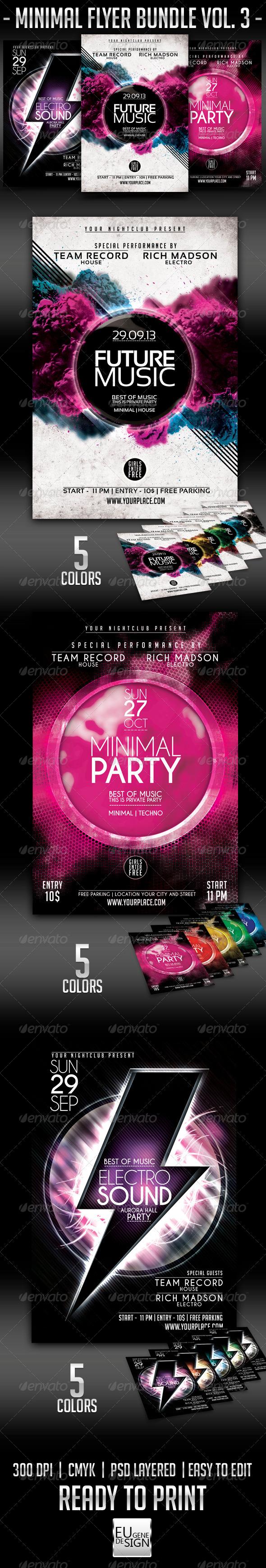 Minimal Flyer Bundle Vol.3 - Clubs & Parties Events