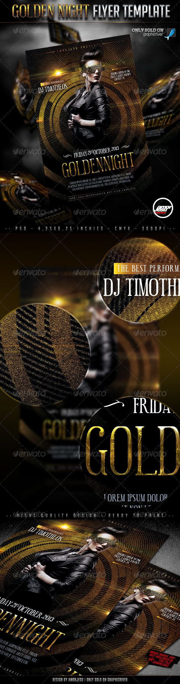Golden Night Flyer Template - Clubs & Parties Events