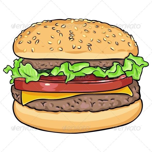 vector cartoon hamburger by nikiteev graphicriver rh graphicriver net cartoon burger and fries cartoon burger png