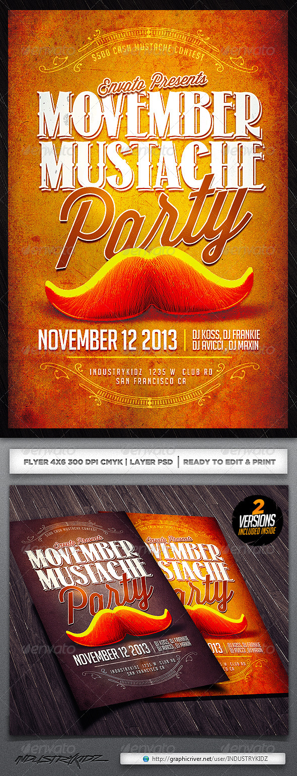 Movember Flyer Template - Clubs & Parties Events