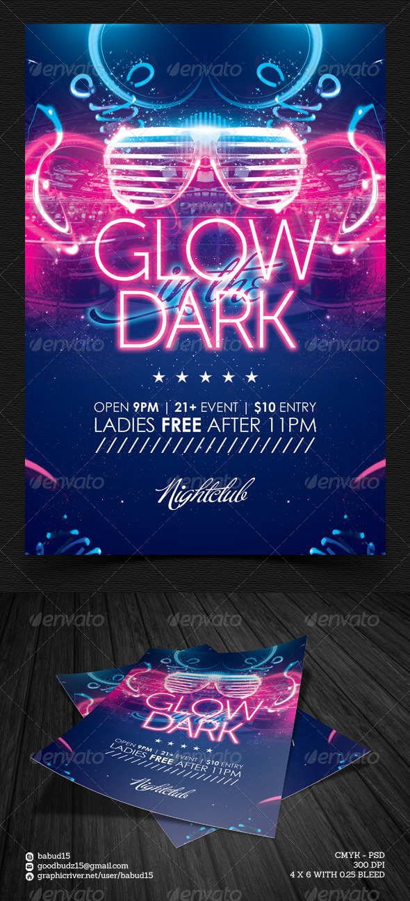 Glow in the Dark Flyer Template - Events Flyers