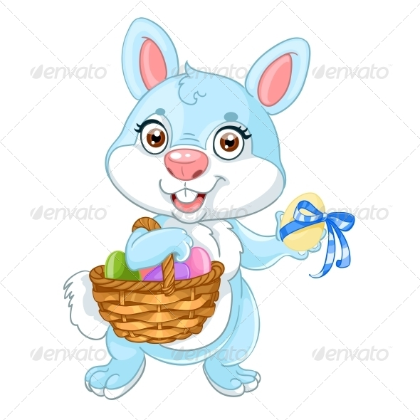 Easter Bunny with Basket of Eggs - Animals Characters