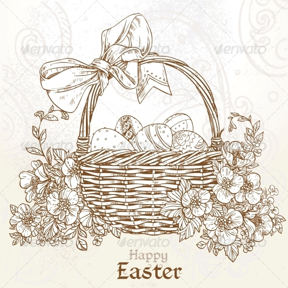 Happy Easter Card with a Basket of Eggs  - Religion Conceptual