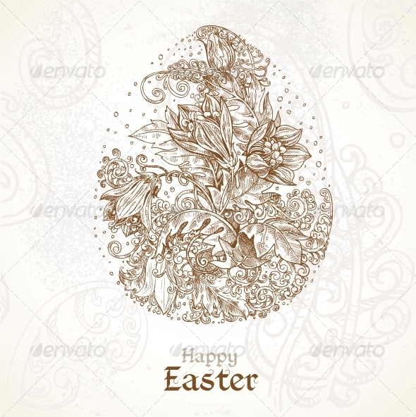Happy Easter Vintage Background with Delicate Egg  - Religion Conceptual